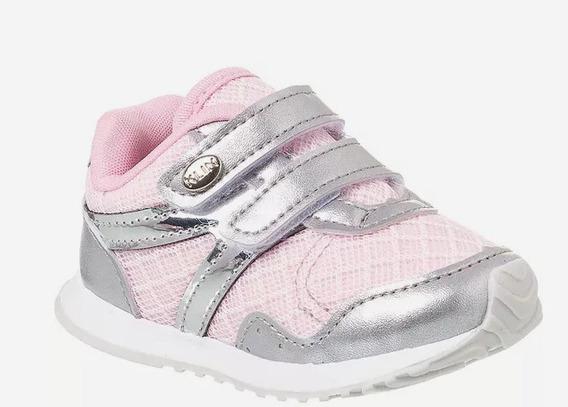 Tênis Bebê Mini Walk Velcros - Rosa - Tam 16