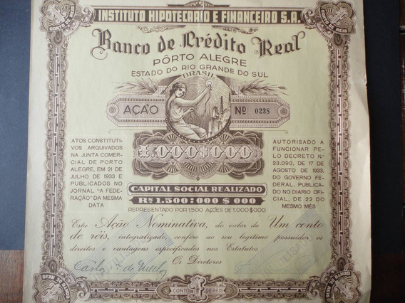 Ação Do Banco De Crédito Real De Palegre 1933.