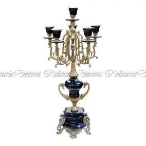 Candelabro Preto Em Porcelana C Bronze Alta Decoração E Acab