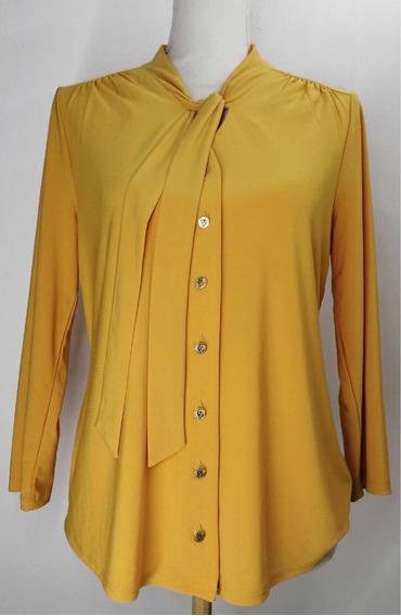Blusa Color Mostaza Elegante (s/m) Anne Klein