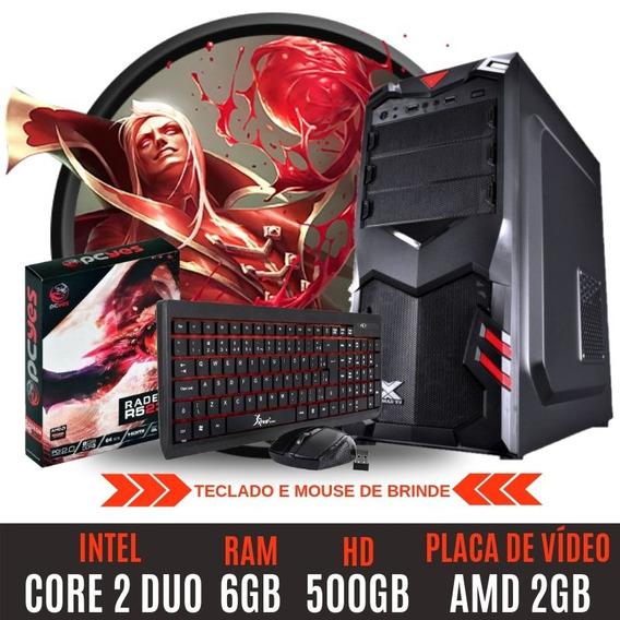 Pc Gamer Core 2 Duo Hd500 6gb Amd Radeon 2gb Garantia + Nf