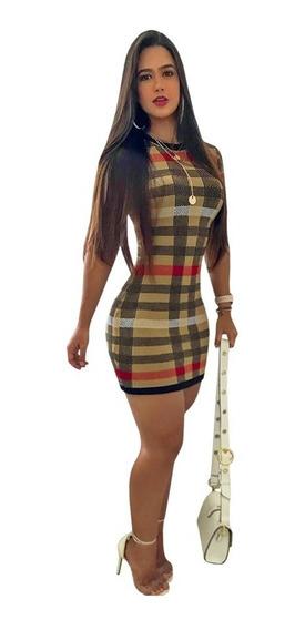 Vestido De Moda Festa Elegance Listrado Tendencia Vte01