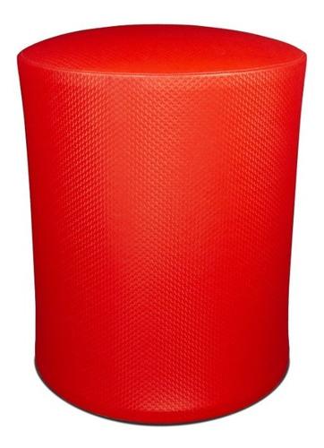 Banquinho Banqueta Puff Estofado Confortável Corino Vermelha
