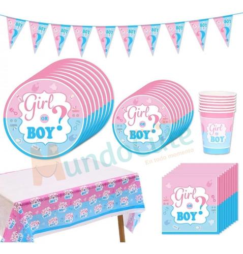 Imagen 1 de 4 de Kit Decoración Fiesta Revelación De Genero Bebé Baby Shower