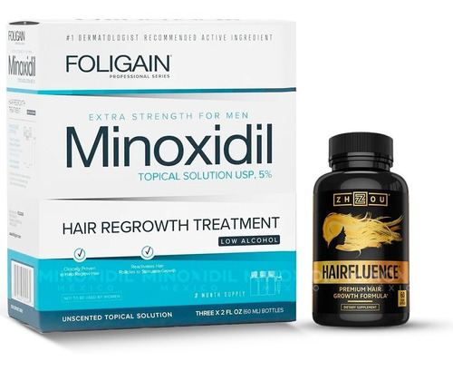 Minoxidil 5% Bajo Alcohol 3 Meses + Hairfluence Premium