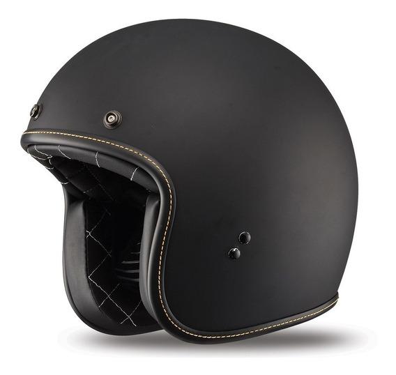 Casco Abierto Moto Cafe Racer Fly 38 Negro Mate Avant Motos