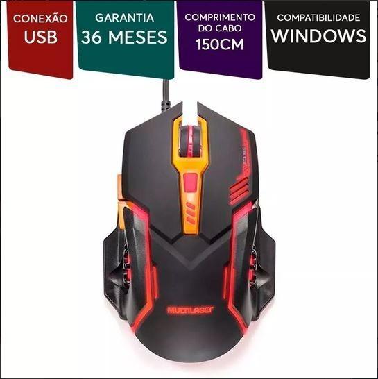 Mouse Gamer Led 7 Botões 2400 Dpi Multilaser Mo270.