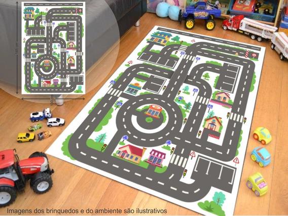 Tapete Ilustrativo Pista Para Brincar De Carrinho Kids A02