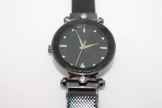 Relógio Pulseira Magnética Preto Na Caixa Com 2