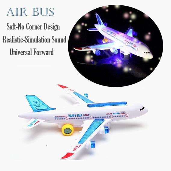 Avião A380 30 Cm Musical C/ Luzes - Bate-volta Brinquedo