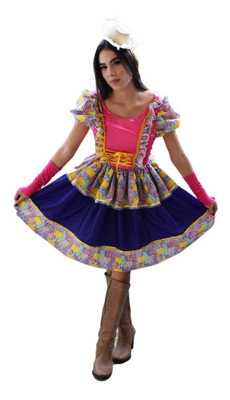 Vestido Festa Caipira Junina Adulto Quadrilha + Luva + Laço