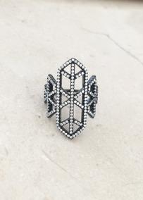 Anel Geométrico Cravejado Prata 925