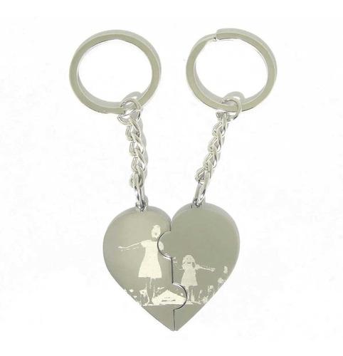 2 Llaveros Acero Quirúrgico Puzzle Corazón Grabado Laser