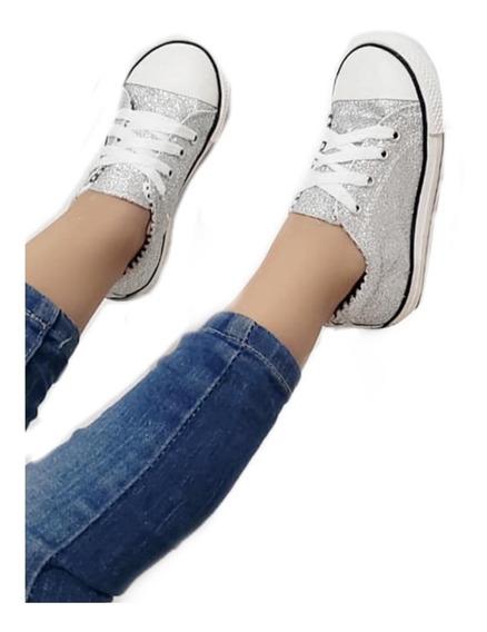 Zapatilla Mujer Niña Diseño Glitter Escarcha Brillo Moda