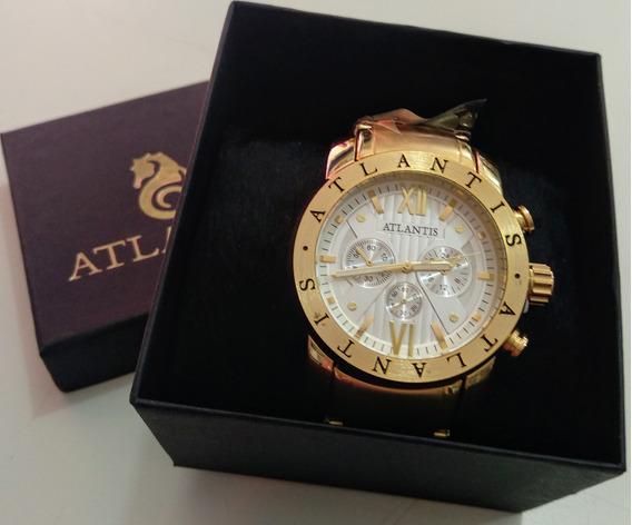 Relógio Masculino Estilo Bvg Dourado A3310 Original