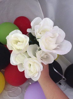 Ramo 5 Flores Artificiales Blanco Con Toque Amarillo Amyglo