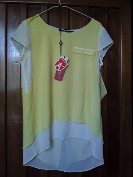 Blusa Dama Importada Talla M Amarilla Con Blanco