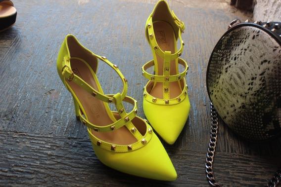 Zapatilla Amarilla Neon Estilo Valentino Nueva