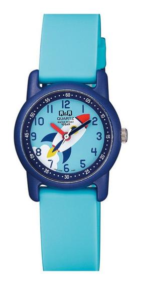 Relógio Infantil Masculino Azul Fundo Foguete Ponteiro +nf