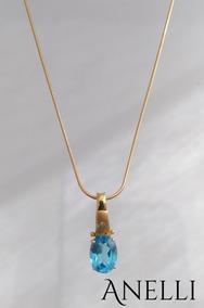 Cordão Com Pingente Em Ouro 18k, Diamantes E Pedras