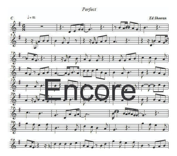 Partitura Perfect Ed Sheeran Formato Encore