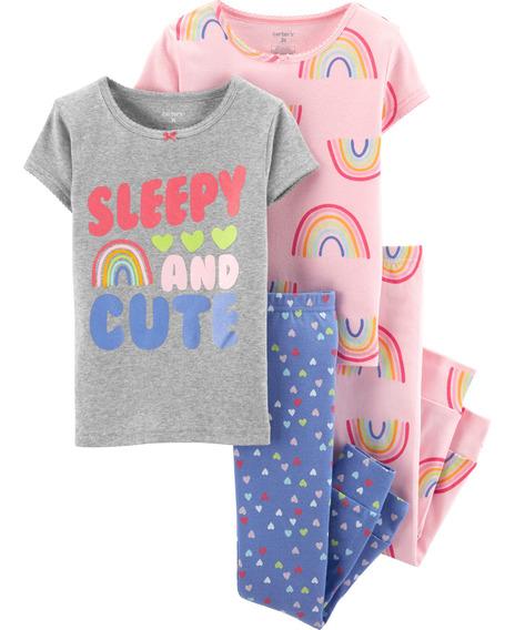 Carters Set De 4 P. Pijama Bebé Nenas Arco Iris