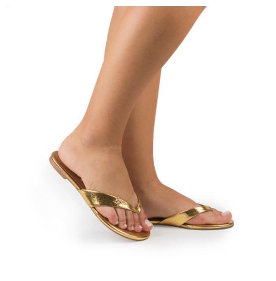 Sandália Rasteira Dourada Di Valentini