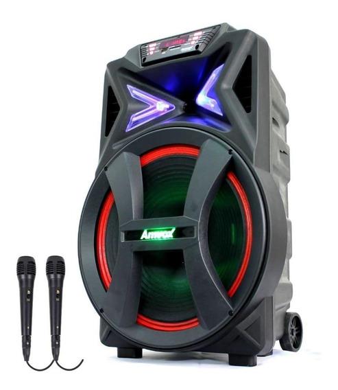 Caixa De Som Amplificada Amvox Aca 501 500w Com 2 Microfones