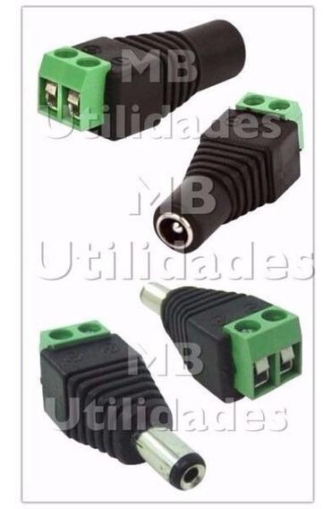 Kit 100 Conector P4 Macho Com Borne + 100 P4 Femea Com Borne