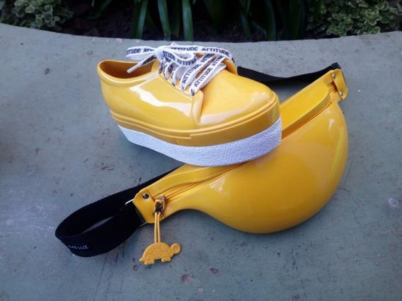 Riñoneras Impermeables + Zapatillas Plataforma Para Lluvia