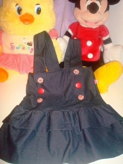 Vestido Jardineira Infantil Menina Azul Tamanho 3