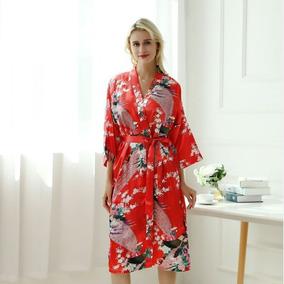 9f32934eff Kimono Japones Longo Robe Noiva Roupa Cetim Pavão + Brinde