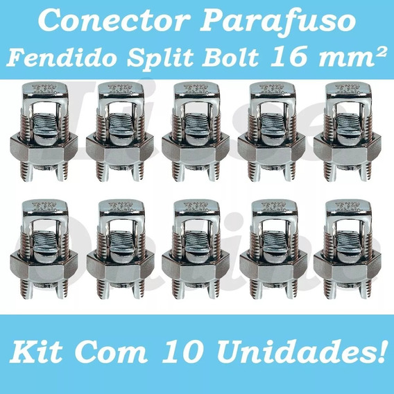 Kit 10 Conector Parafuso Fendido Cabos Fios 16mm Split Bolt