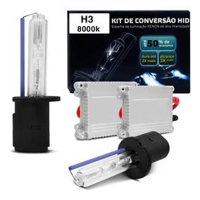 Kit New Xênon Completo H3 8000k 35w 12v Tonalidade Azulada