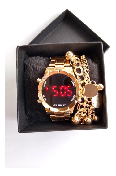 Relógios Feminino Digital + Caixa & Pulseiras - 05 Unidades