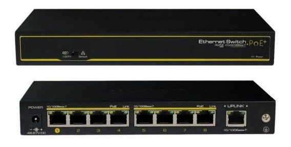 Switch Ethernet Poe+ 8 Downlink + 2 Uplink Cygnus S1008-120