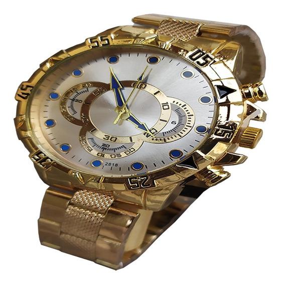 Kit Acessórios De Luxo, Relógio Dourado + Corrente Promoção