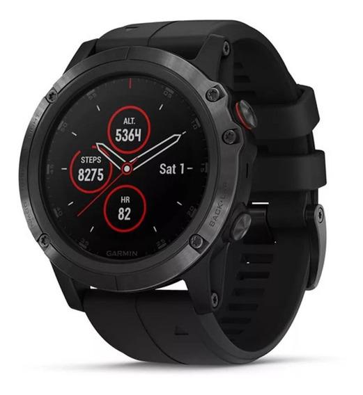 Relógio Smartwatch Garmin Fenix 5x Plus Safira Gps Monitor Cardíaco Multiesportivo Preto