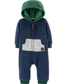 Macacão Em Fleece Soft Com Touca Azul E Verde Carters