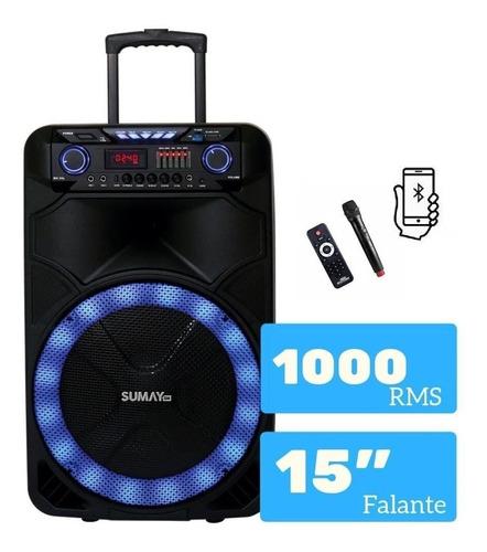 Caixa Sumay Thunder X 1000w Com Bluetooth E Microfone