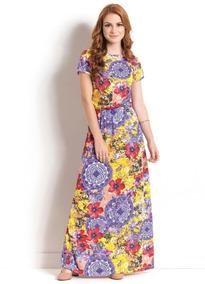 Vestido Longo Floral E Mandala Moda Evangélica Frete Grátis