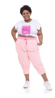 Pré Venda Calça Jogger Plus Wonder Size Moletinho Rosa Neon