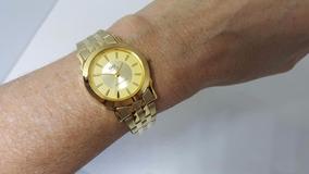 Relógio Feminino Pequeno Pulseira Dourada Fundo Dourado Q&q