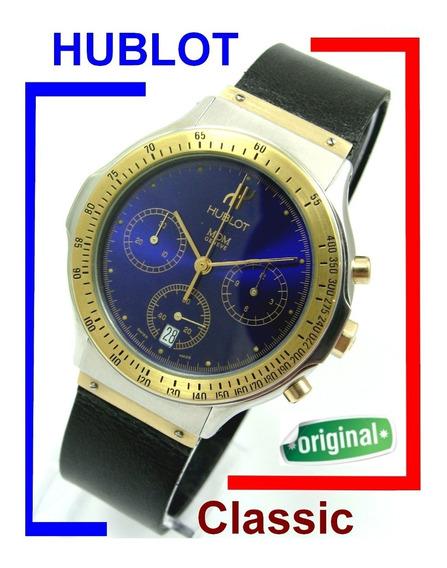 Lindo Hublot Classic Aço Ouro 18k Azul Cronógrafo Ref 1621.2