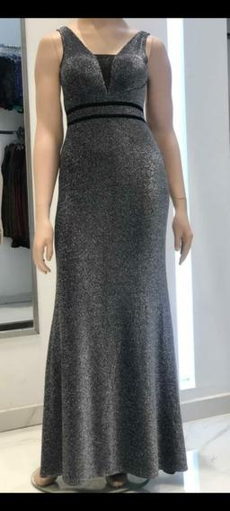 Vestido De Fiesta Tm Lourex Plata 2 Cintas Sabah Desing