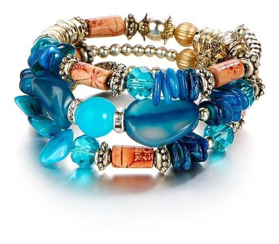 Pulseira Feminina Pedras Naturais Azul Cristais Ajustável