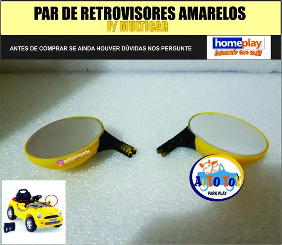 Retrovisores Amarelos Para Multicar - Homeplay (1 Par )