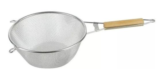 Colador Acero Inoxidable C/ Mango Madera 18 Cms