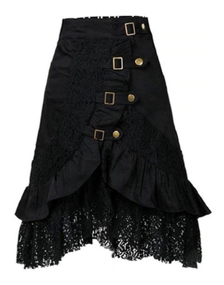 Falda Gotica Punk Lolita Metalera Hebillas Steampunk Victori