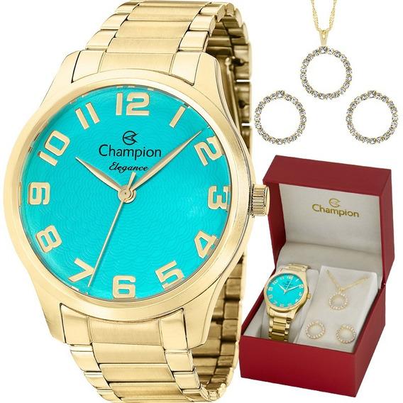 Kit Relógio Champion Feminino Colar E Brincos Nota Cn26064y